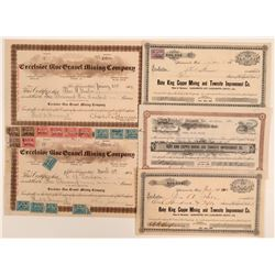 Colusa and Yuba County Mining Stock Certificates (5)  105897