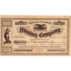Golden Gate Consolidated Hydraulic Mining Co. Stock Certificate  106953