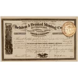 Belden & Tennal Mining Co. of Colorado Stock Certificate  106920