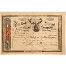 Elk Gold & Silver Mining Company Stock Certificate  106975