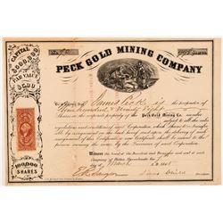 Peck Gold Mining Company Stock Certificate  104346