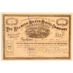 Helmick Silver Mining Company Stock Certificate  106946