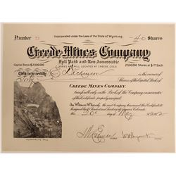 Creede Mines Company Stock with Pictorial Humphreys Mill Vignette  105883