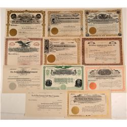 Eleven unissued Cripple Creek Mining Stock Certificates  105918