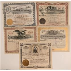 Five 1890's Cripple Creek Stocks (D)  105866