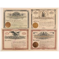 Four Large Mining Investment 1890's Cripple Creek Stock Certificates  105867