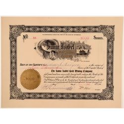 Santa Isabel Gold Mining Company Cert with Picture Vignette of Santa Isabel Church  105880