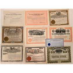 Ten 1910's Cripple Creek Stock Certificates  105859
