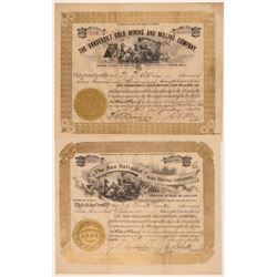 Two 1890's Cripple Creek Stocks Issued for 100,000 Shares  105872