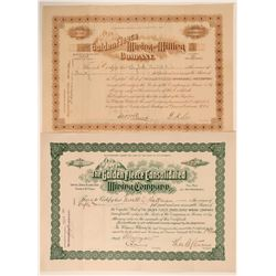 Two Golden Fleece of Georgetown, Colorado Mining Stock Certificates  105873