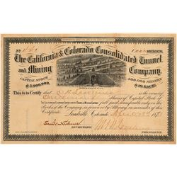 California & Colorado Cons. Tunnel & Mining Co. Stock signed by Loveland  106929
