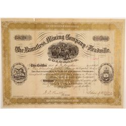 Dauntless Mining Company of Leadville Stock Certificate  106958
