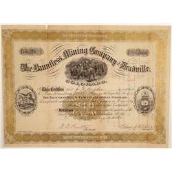 Dauntless Mining Company of Leadville Stock Certificate  106958