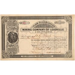 Golconda Mining Company of Leadville Stock Certificate  106957
