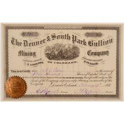 Denver & South Park Bullion Mining Company Stock Certificate  106971