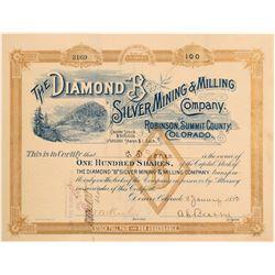 Diamond B Silver Mining & Milling Co. Stock Certificate  106986