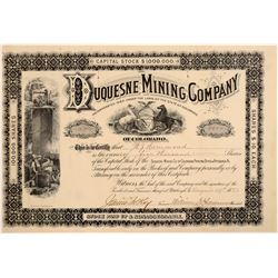 Duquesne Mining Company Stock Certificate  106987