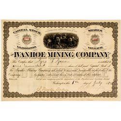 Ivanhoe Mining Company Stock Certificate, Colorado, 1883  58412