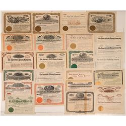 Twenty-four Cripple Creek, Colorado Stock Certificates issued for 1,000 shares!  105923