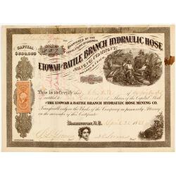 Etowah & Battle Branch Hydraulic Hose Mining Company Stock Certificate  81670