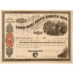 Etowah & Battle Branch Hydraulic Hose Mining Company Stock Certificate  101772