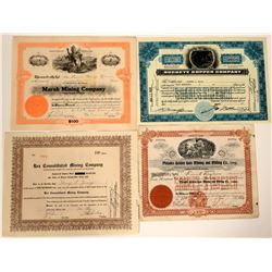 Five Different Coeur d'Alene, Idaho Mining Stock Certificates  107522