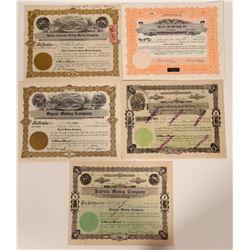 Five Different Kellogg, Idaho Mining Stock Certificates  107518