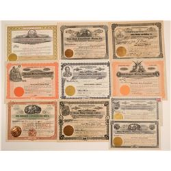 10 Different Wallace, Idaho Mining Stock Certificates  106727