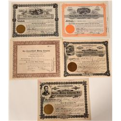 Five Different Wallace, Idaho Mining Stock Certificates  107504
