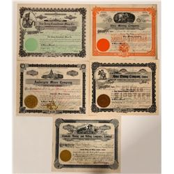 Five Different Wallace, Idaho Mining Stock Certificates  107506