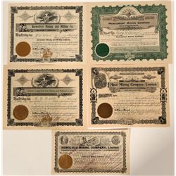 Five Different Wallace, Idaho Mining Stock Certificates  107509