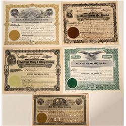 Five Different Wallace, Idaho Mining Stock Certificates  107512