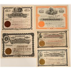 Five Different Wallace, Idaho Mining Stock Certificates  107513