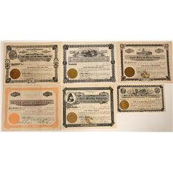 Six Different Wallace, Idaho Mining Stock Certificates  107514