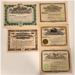 Five Different Idaho Mining Stock Certificates  107468
