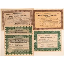 Five Idaho Copper Mining Stock Certificates  106682