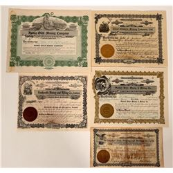Five Small Town Idaho Mining Stock Certificates  107470