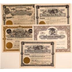 Idaho Lead Mining Stock Certificates (5)  106729