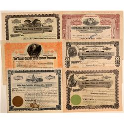 Six Different Idaho Mining Stock Certificates  106685