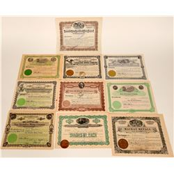 Ten Different Idaho Mining Stock Certificates  107571