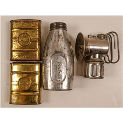 "Carbide Tins & Lamp / The ""Justrite Company"" / 4 Items  109579"