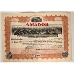 Amador Consolidated Mining & Development Co. Stock Certificate  107601