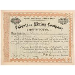 1888 Montana Territory Stock - Volunteer Mining Company  105827