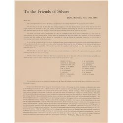 "Butte 'Friends of Silver"" Broadside about ""this critical situation""  105830"