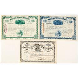 Three Good Butte, Montana Mining Stock Certificates incl. William A. Clark signatures  59089