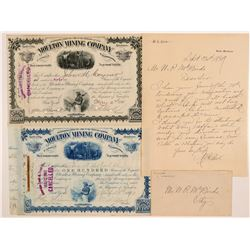 Moulton MC Stocks and WA Clark Letter and Cover  109541