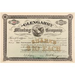 Glengarry Mining Company Stock, Butte City, 1891 - Pristine Condition  105828