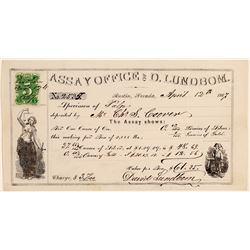 Assay Office of D. Lundbom Signed by David Lundbom with Green 5c Nevada revenue Stamp  108457