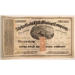 Alpha Gold Hill Mining Company Stock Certificate  106997