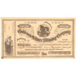 Crescent Gold & Silver Mining Company Stock Certificate--Number 1  106994